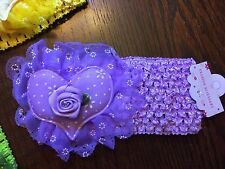 PRETTY BABY OR CHILDS STRETCH HEADBANDS PURPLE HEARTS WITH FLOWERS