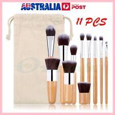 e55ce017d 11PC Bamboo Handle Cosmetics Foundation Blending Blush Powder Cream Makeup  Brush