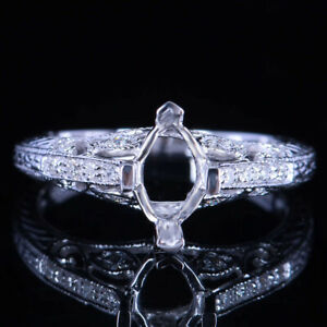 Fine Jewelry Marquise 5x8mm Real Diamond Semi Mount Ring Setting Sterling Silver