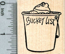 Bucket List Frog Rubber Stamp E33604 WM