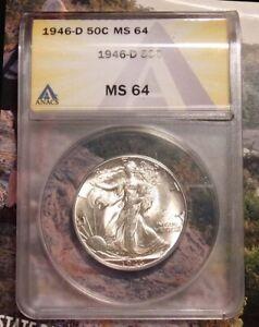 1946-D Walking Liberty Silver Half Dollar-- ANACS Graded MS 64