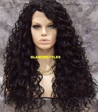 """30"""" Long Spiral Curls Off Black Full Lace Front Wig Heat Ok Hair Piece #1B NWT"""