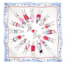 Fifi Lapin & Juicy Couture Fashion Print Silk Scarf NEW Beautiful! Rare & HTF