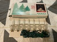 NEW VINTAGE NOMA 7 CRYSTAL BUBBLE LITE SET LIGHT CLEAR IN BOX LIGHTS CHRISTMAS