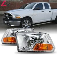 09-18 For Dodge Ram Clear Lens Replacement Headlights Headlamps Left+Right