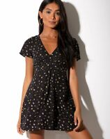 MOTEL ROCKS Elara Dress in Pretty Petal Black  Extra Small  XS   (MR85)