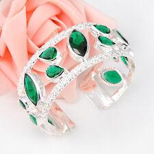 222 Cts Gorgeous Unique Emerald Green Topaz Gems Silver Charm Bangles Bracelets