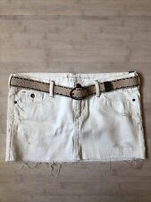 NWT Abercrombie Kids White Denim Mini Skirt Distressed Belt Girls 14 $39.50
