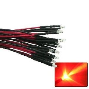 10 Stück LED verkabelt rot blink 3mm + Vorwiderstand Beleuchtung Modellbahn NEU