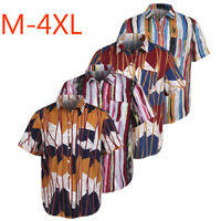 Men Luxury Shirts Casual Stylish Slim Fit Short Sleeve Print Dress Tops Blouse