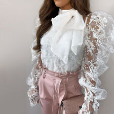 Women Bow Tie Puff Sleeve Casual Lace Patchwork Shirt Cocktail Party Tops Blouse