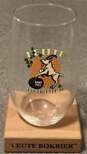 """Leute Bokbier Stemless Beer Glass with the Wooden Stand """"ANNO 1927"""""""