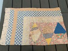 Vintage Hand Quilted Feed/Flour Sack Fabric Patchwork Pattern Cutter Quilt Piece