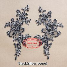 25*12.5cm, 2PC Flower Embroidered Lace Trim Sewing Applique Dress  Decor FL106