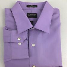 NWT Arrow Regular Fit Mens Purple Long Sleeve Dress Shirt Poplin XL -17 1/2.