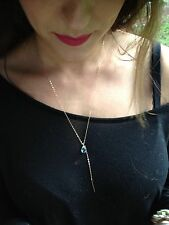 Blue Topaz Gemstone Y Style Necklace. Bat Mitzvah 14k Gold Filled Chain/Bar