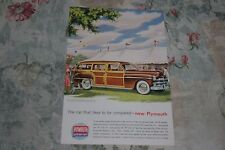 VINTAGE 1949 PLYMOUTH WOODY STATION WAGON  PRINT  AD   ORIGINAL