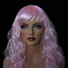 """18"""" Long Baby Pink Synthetic Curly Wavy Hair Wig for Cosplay Party Fancy Dress"""