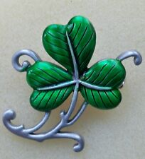 Shamrock pewter pin with emerald green,epoxy, made in America