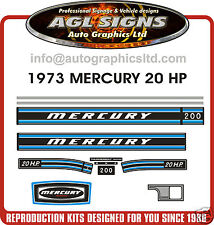 1973 MERCURY 20 hp Outboard Decal Set  reproductions stickers