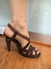 Women Michael Kors Brown Patent Leather Sling Back Open Toe Heel Shoe Size 7