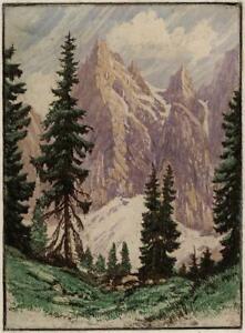 LUDWIG BURGEL (1901-1980) Signed Aquatint Etching MOUNTAINS & TREES 20TH CENTURY