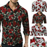 Fashion Mens Slim Cotton Blend Shirt Lapel Rose Flower Printing Casual Shirt Top