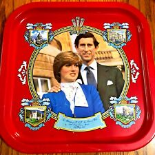 """Royal Wedding Charles and Diana Square Vintage 1981 Red Tin Serving Tray14""""X14"""""""