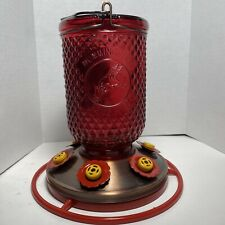 New listing Hummingbird Feeder Bottle Red Mason Jar Glass With 6 Ports Copper Plated Base