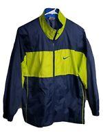 Vintage 90s Nike Windbreaker Jacket Full Zip, Blue & Lime Green Mens Size Large