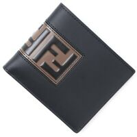 Fendi Mens Black with Brown Signature FF Bi-fold Wallet BNWB
