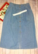 CLASSIC ELEMENTS Women's 12 Long blue jean denim Button Front skirt Modest B278