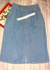 CLASSIC ELEMENTS Women's 12 Long blue jean denim skirt Button Front