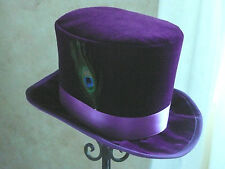 "PURPLE VELVET TOP HAT-PEACOCK FEATHER-SATIN BAND-M/L 22.5-23"" or 7 1/4-7 3/8"