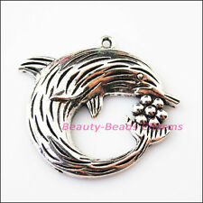1Pc Antiqued Silver Tone Dolphin Flower Animal Charms Pendants 49x54mm