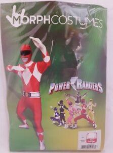 Adult Power Rangers Morphsuit Fancy Dress Costume Red Bodysuit New