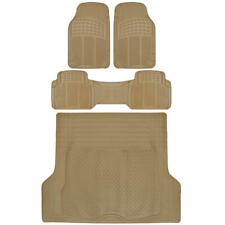 4pc Beige Heavy Duty Floor Mats Cargo Liner Utility Pads Set - HD All Weather