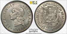 1963 Dominican Republic 25 Centavos PCGS MS65 Lot#G096 Silver! Gem BU!