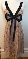MANNING CARTEL Sheer Pink Silk Mustard Black Print Ribbon Detail Party Dress 10