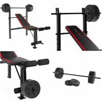 Adjustable Weight Bench Set Barbell Plate Home Gym Training Workout Press Lift