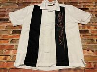 Cubavera Bowling Shirt Cigar Lounge Button Down Size M White Smoking