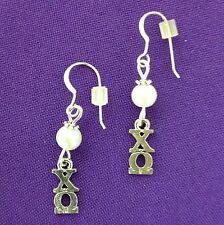 Chi Omega Sorority Lavaliere Earrings, pearl accents FREE SHiPPING Chi O gift