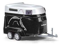 HO 1:87 Busch # 44944 - Horse Trailer - 2-Axle - Black/Silver