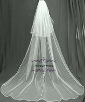 Cathedral Royal 2T Crystal Pearl Wedding Bridal Veil White Diamond Ivory Satin