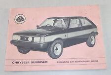 Aditivo - Instrucciones Servicio Talbot Rayo de Sol Lotus Von 08/1979