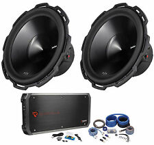 "2) Rockford Fosgate Punch P3D4-15 15"" 1200W Car Subs+1500W RMS Amplifier+Amp Kit"