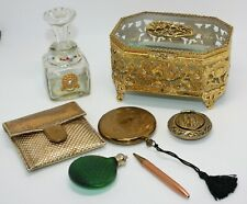 ANT/VTG JUNK DRAWER VANITY LOT w/MATSON JEWELRY CASKET, ZELL COMPACT& MORE! #8A