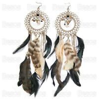 26cm very long OVERSIZE EARRINGS feathers hoop feather GOLD FASHION statement UK