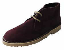 Burgundy Retro 70s MOD Style Real Suede Desert Boots