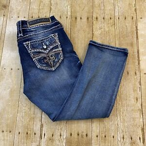 Rock Revival Linne Easy Crop Womens Thick Stitch Jeans Rhinestones Size 27 31X23
